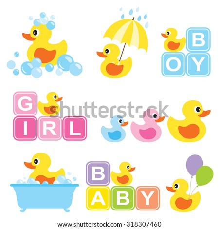 Vector illustration of yellow rubber duck for baby shower. - stock vector