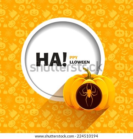 Vector illustration of yellow seamless patterns for a happy Halloween party. Spider carved on a pumpkin for Halloween. Use for brochures, printed materials, banner, greeting, card. - stock vector