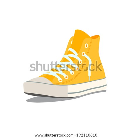 Vector illustration of yellow sneakers - stock vector
