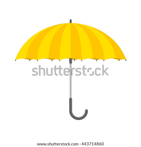 Vector illustration of yellow  umbrella on white background. Open umbrella icon in flat style.