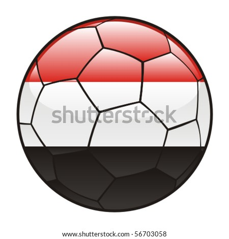 vector illustration of Yemen flag on soccer ball