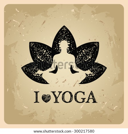 Vector illustration of yoga poses on a vintage background - stock vector