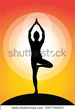Vector Illustration Of Yoga Poses Silhouette At Sunset Zen Meditation Peace