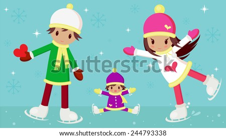 Vector illustration of young boy and girl in love, and a little child wondering how the girl can skate so beautiful. The boy is carrying a red heart for his love. Theme is Valentine's Day. - stock vector
