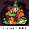 Vector illustration of young funny witch is cooking something poisonous in her cauldron, at Halloween night. - stock vector