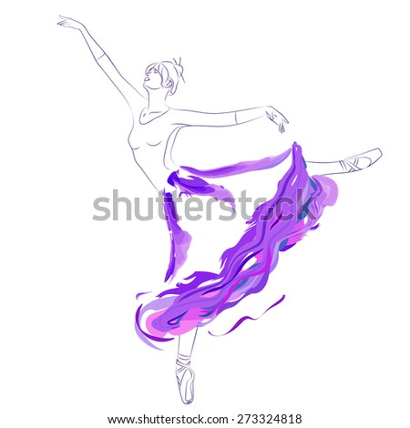 Vector illustration of young woman ballet dancer gracefully dancing in long tutu skirt on clear/white background. Graphic outline and watercolor imitation. - stock vector