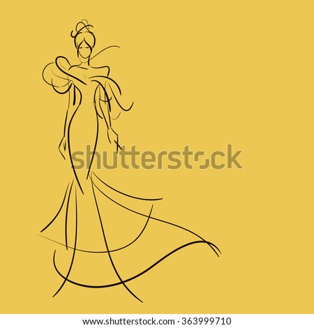 Vector illustration of young woman in long dress made in line hand drawn style.  Vector template for invitation card business card and banner - stock vector