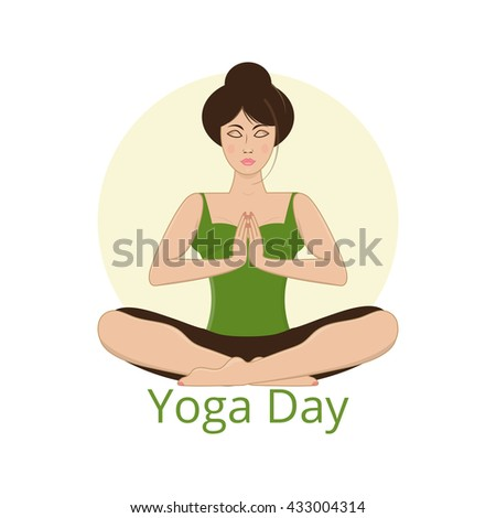 Vector illustration of young woman practicing yoga, meditating in prayer position. Design for international yoga day, poster; card, logo.