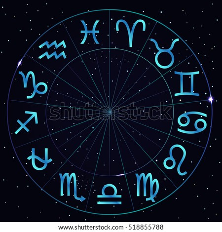 Vector illustration of zodiac circle on cosmic background with stars. Astrology horoscope signs. Zodiac circle with thirteenth astrological sign Ophiuchus.
