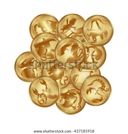 Vector illustration of zodiac signs on a gold disk in the form of a medallion. All objects isolated can be used with any image or text.