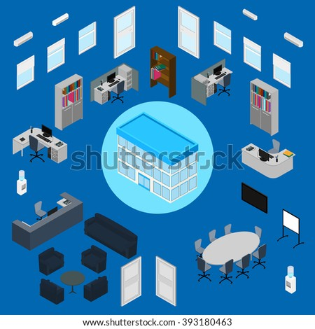 office interior set office furniture stationery computer phone building office furniture