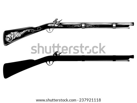 Vector illustration old flintlock rifle - stock vector