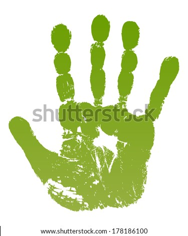 Vector illustration old man green hand print isolated on white background. Created in Adobe Illustrator. Image contains gradients. EPS 8. - stock vector