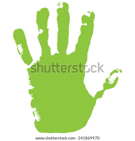 Vector illustration old man green hand print isolated on white background. Created in Adobe Illustrator. EPS 10. - stock vector