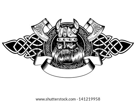 Vector illustration old viking in helmet with horns and celtic patterns - stock vector