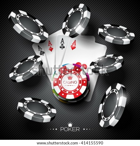 Vector illustration on a casino theme with color playing chips and poker cards on dark background. Eps 10 design.
