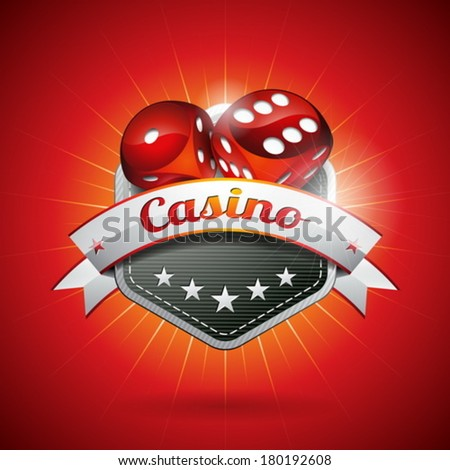 Vector illustration on a casino theme with dices and ribbon. EPS 10 design  - stock vector