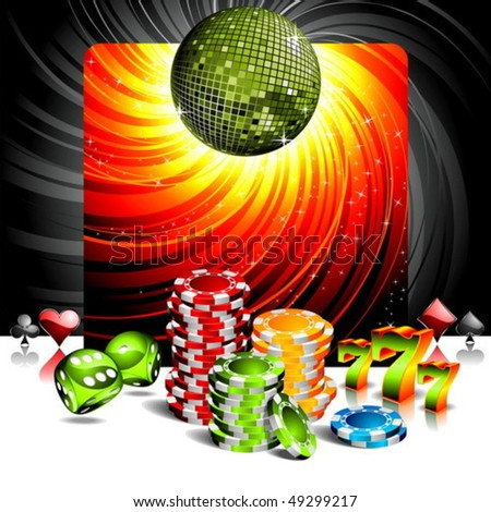 Vector illustration on a casino theme with disco ball and poker chips. - stock vector