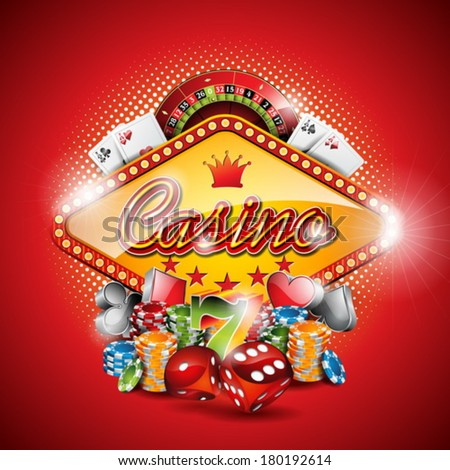 Vector illustration on a casino theme with gambling elements on red background. EPS 10 design  - stock vector