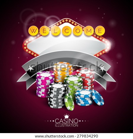 Vector illustration on a casino theme with lighting display and playing chips on purple background. Eps 10 design.