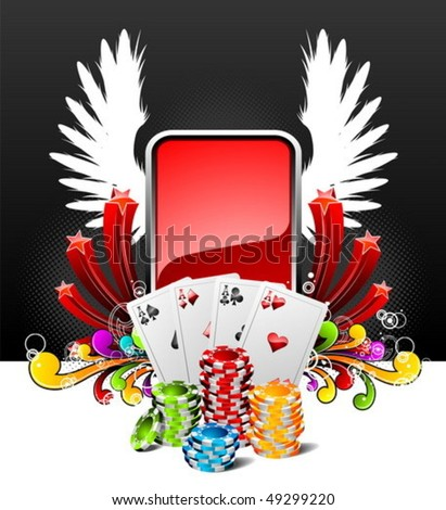 Vector illustration on a casino theme with playing cards and poker chips. - stock vector