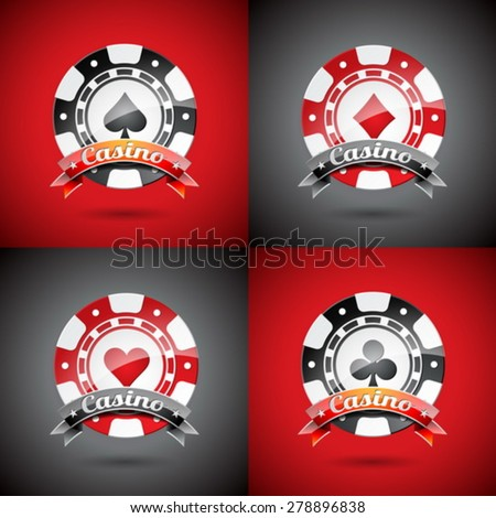 Vector illustration on a casino theme with playing chips set. Eps 10 design. - stock vector