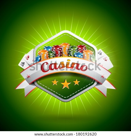 Vector illustration on a casino theme with poker card and chips. EPS 10 design  - stock vector