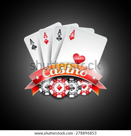 Vector illustration on a casino theme with poker symbols and poker cards on dark background. EPS 10 design