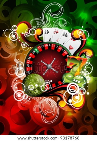 Vector illustration on a casino theme with roulette and disco ball. - stock vector