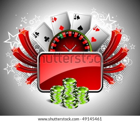 Vector illustration on a casino theme with roulette whel, playing cards and poker chips. - stock vector