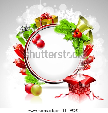 Vector illustration on a Christmas theme with gift box and shiny holiday elements on shiny background. - stock vector