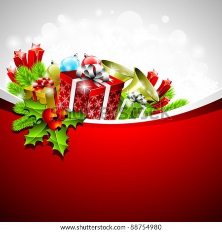 Vector illustration on a Christmas theme with gift boxes and shiny holiday elements on red background. - stock vector