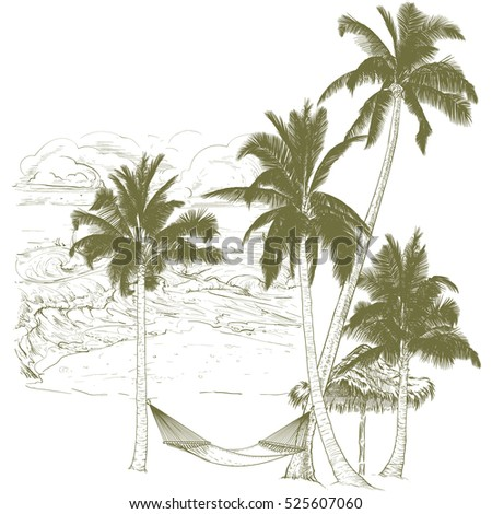 Vector illustration on a graphic tablet. Hand drawing.Palm trees with hammock, against the background of the ocean.