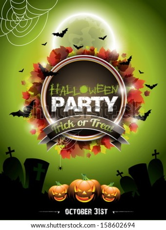 Vector illustration on a Halloween Party theme with pumpkins. EPS 10 illustration. - stock vector