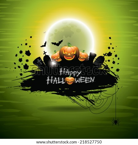 Vector illustration on a Halloween theme on green background. EPS 10 illustration - stock vector