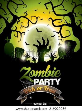 Vector Illustration On A Halloween Zombie Party Theme Green Background EPS 10
