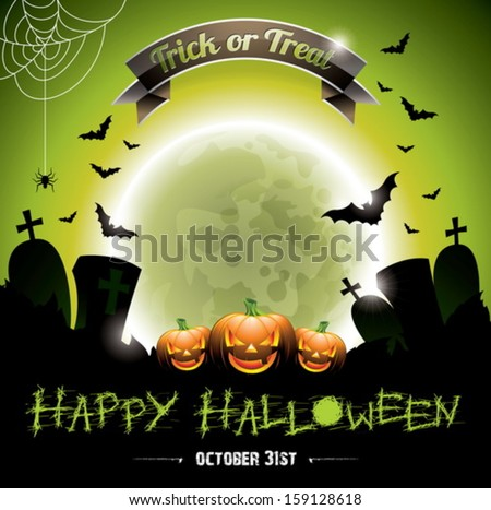 Vector illustration on a Happy Halloween theme with pumpkins. EPS 10 illustration. - stock vector