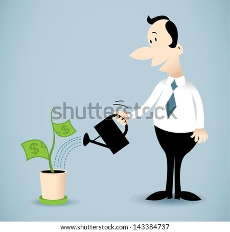 Vector illustration on a man watering money plant.
