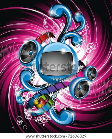 Vector illustration on a media and movie  theme with futuristic tv on abstract grunge background.