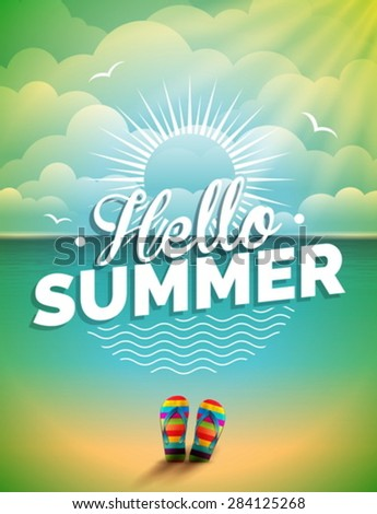 Vector illustration on a summer holiday theme on seascape background. Eps 10 design. - stock vector