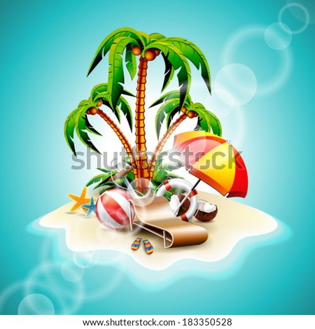 Vector illustration on a summer holiday theme with paradise island on sea background. EPS 10 design. - stock vector