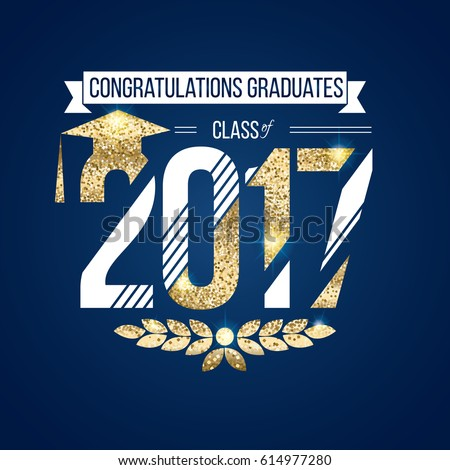 vector illustration on blue background congratulations on graduation 2017 class of, texture gold luxury design for the graduation party, a gold wreath