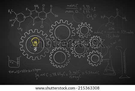 vector illustration on chalkboard, all grunge effects made by default illustrator brushes - stock vector