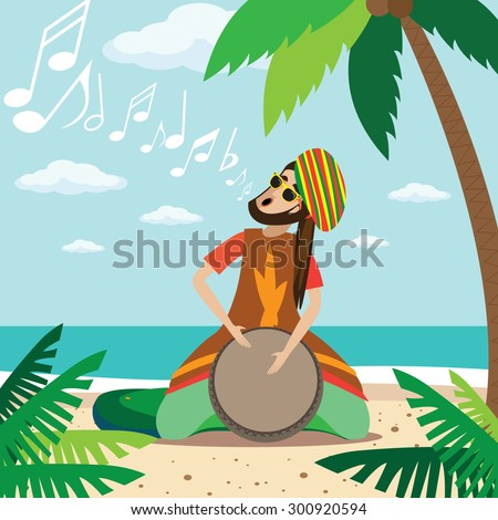 Vector illustration on color background featuring rasta man sitting on the beach, plays on the drum and sings - stock vector