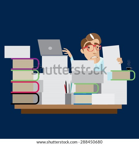 Vector illustration on color background featuring stressed businessman, sitting on desk in workplace with stressful background - stock vector