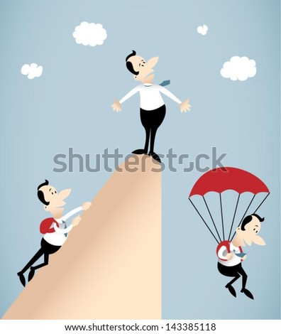 Vector illustration on group of businessman who climbed the peak of his career and then descend by parachute.He is no way to get down.Going down is harder than climbing - stock vector