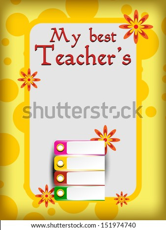 Vector illustration on the teachers day occasion with office book. - stock vector