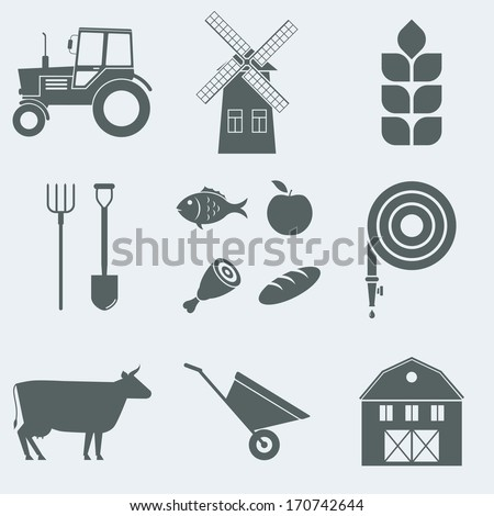Vector illustration on the theme of agriculture - stock vector