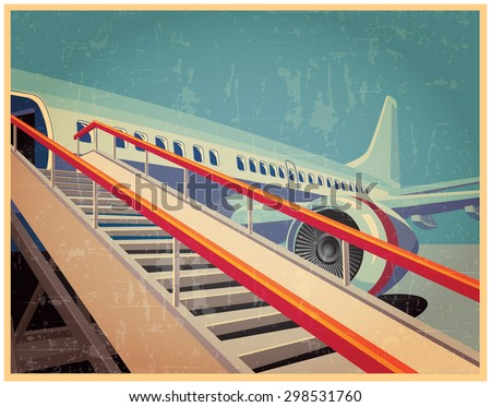 Vector illustration on the theme of civil aviation. jet civil aircraft in vintage style - stock vector
