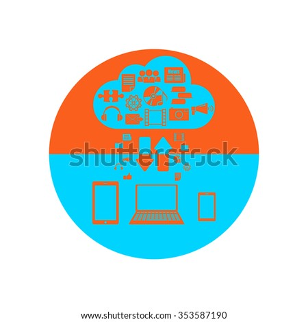 Vector illustration on the theme of cloud technologies - stock vector